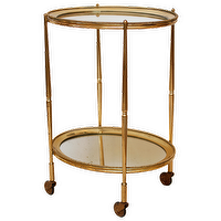 Tables - Art Deco Brass and Mirror Tray Table - art deco, brass, mirror, tray, table