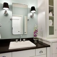 Mitch Wise Design - bathrooms - green, gray, walls, rectangular, pivot, mirror, glass-front, bathroom cabinets, single, bathroom vanity, blue green walls, blue green paint, blue green paint colors, Restoration Hardware Lugarno Single Sconce,