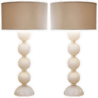 Lighting - Rare Important White Murano Glass Lamps - white, murano, glass, lamps