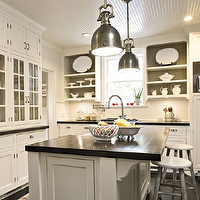 Southern Living - kitchens - glossy, white, beadboard, ceiling, floor to ceiling, white, glass-front, kitchen cabinets, kitchen island, butcher block, tops, gray washed, vintage, stools, beadboard ceiling, white beadboard ceiling, kitchen beadboard, kitchen beadboard ceiling, beadboard kitchen ceiling,