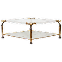 Tables - French Brass, Lucite, and Glass Coffee Table - French, brass, lucite, coffee table