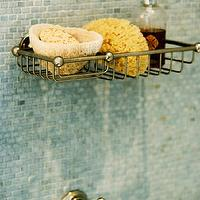Sage Design - bathrooms - mosaic, tiles, shower surround, vintage, shower, kit, brushed nickel, shower, caddy, shower caddy, mosaic tile, mosaic tile shower, mosaic tile shower surround, blue mosaic tile, blue mosaic tile shower surround,