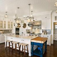 Mitch Wise Design - kitchens - beadboard, ceiling, floor to ceiling, white, kitchen cabinets, marble, countertops, farmhouse, sink, kitchen island, cobalt, blue, drop-down, kitchen island, butcher block, top, sawhorse, stools, blue, glass, subway tiles, backsplash, schoolhouse, pendants, beadboard ceiling, white beadboard ceiling, kitchen beadboard, kitchen beadboard ceiling, beadboard kitchen ceiling, beadboard ceiling kitchen, white beadboard kitchen,