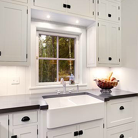 Mitch Wise Design - kitchens - floor to ceiling, glossy, white, kitchen cabinets, honed, black, granite, tops, farmhouse, sink, oil-rubbed bronze, pulls, knobs, farmhouse sink, dual farmhouse sink,