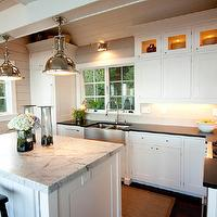 Mitch Wise Design - kitchens - stainless steel, apron, sink, white, kitchen island, marble, top, white, kitchen cabinets, honed, black, granite, tops, white, wood panels, Restoration Hardware Harmon Pendant,