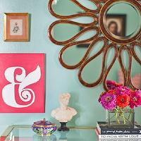 Caitlin Wilson Design - dens/libraries/offices - green, walls, flower, mirror, vintage, Baker, console, table, eclectic, art gallery,  Green