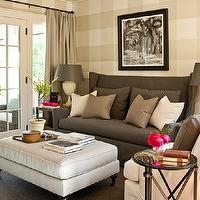 Southern Living - living rooms - tan, gingham, pattern, walls, charcoal, gray, slipcover, wingback, sofa, gray, taupe, silk, pillows, light gray, velvet, bench, ottoman, directoire, table, taupe, silk, drapes, gray sofa, wingback sofa, gray wingback sofa,