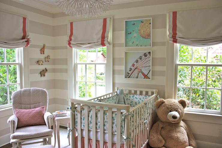 Striped Nursery, Transitional, nursery, Sherwin Williams Realist Beige