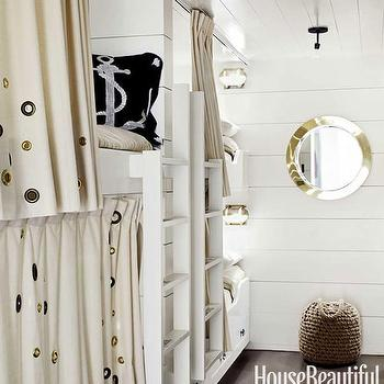 House Beautiful - boy's rooms - glossy, white, wood panels, built-in, bunk beds, linen, curtains, navy blue, nautical, pillows, bunk bed ladders, removable bunk bed ladders, white bunk bed ladders, bunk beds, built in bunk beds, boys bunk beds, boys built in bunk beds, boys beds, panel bunk beds, panel built in bunk beds,