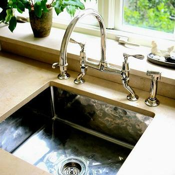 Sage Design - kitchens - polished nickel, gooseneck, bridge, faucet, hammered, metal, square, sink, concrete, countertops, metal sink, hammered sink, hammered metal sink, hammered kitchen sink, hammered metal kitchen sink,