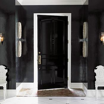 House Beautiful - entrances/foyers - glossy, black, walls, glossy, black, door, marble, tiles, black and white room, black and white foyer, glossy black door,