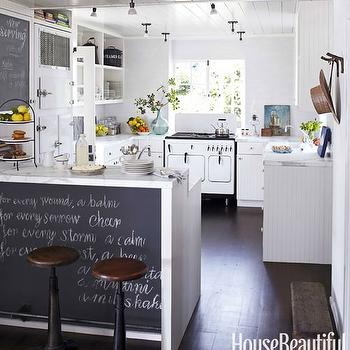 House Beautiful - kitchens - beadboard, kitchen cabinets, marble, countertops, vintage, icebox, vintage, stove, chalkboard, cabinet, door, chalkboard, kitchen island, peninsula, vintage, stools, chalkboard wall, kitchen chalkboard wall, chalkboard, kitchen chalkboard, kitchen chalkboard ideas, chalkboard kitchen, chalkboard in kitchen, chalkboard message board, kitchen chalkboard message board, chalkboard island, chalkboard kitchen island,