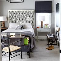House Beautiful - boy's rooms - headboard, cool, gray, walls, desk, mismatched, nightstands, blue, roman shade, katana fabric, kelly wearstler katana fabric, kelly wearstler katana, Kelly Wearstler Katana Fabric,