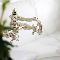 Sage Design - bathrooms - polished nickel, wall-mount, vintage, faucet, marble, tops,  Polished nickel vintage wall-mount faucet kit and marble