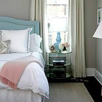 Sage Design - girl's rooms - cool, gray, walls, baby blue, velvet, camelback, button, tufted, headboard, silver, nailhead trim, baby blue, double gourd, lamp, mirrored, brass, round, table, nightstand, white, duvet, shams, navy blue, stitching, pink, cashmere, throw, turquoise headboard, turquoise blue headboard,