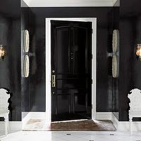 House Beautiful - entrances/foyers - glossy, black, walls, glossy, black, door, marble, tiles,  Rob Southern - Glossy black door, glossy black