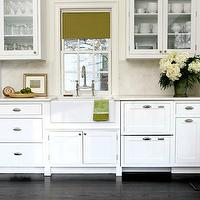 Sage Design - kitchens - white, glass-front, kitchen cabinets, marble, slab, countertops, backsplash, farmhouse, sink, bridge, faucet, olive, green, roman shade, farmhouse sink, small farmhouse sink, apron sink, small apron sink,