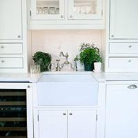 Sage Design - kitchens - wine cooler, white, kitchen cabinets, marble, slab, countertops, backsplash, farmhouse, sink,  Butler's pantry with