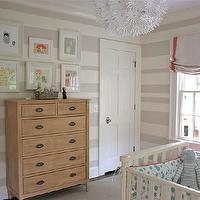 nurseries - Bellini crib, Restoration Hardware dressers, IKEA Maskros pendant lamp, Montego bookcase from Home Decorators Collection, artwork by Ashley Goldberg from Etsy.com, striped nursery, striped nursery walls, beige striped walls, beige striped nursery, beige striped nursery walls, white and beige striped walls, white and beige striped nursery, white and beige striped nursery walls,