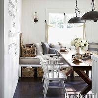 House Beautiful - dining rooms: white, wood panels, built-in, window seat, burlap, tufted, cushion, gray, pillows, white, vintage, chairs, trestle, dining chairs, white paint colors, benjamin moore white paint, benjamin moore white paint colors,