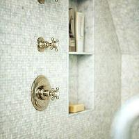Sage Design - bathrooms - mosaic, tiles, shower surround, vintage, polished nickel, shower kit, shower niche,  Gorgeous shower with mosaic tile