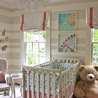nurseries - Sherwin Williams - Realist Beige - Bellini crib, Restoration Hardware dressers, IKEA Maskros pendant lamp, Montego bookcase from Home Decorators Collection, artwork by Ashley Goldberg from Etsy.com, striped nursery, striped nursery walls, beige striped walls, beige striped nursery, beige striped nursery walls, white and beige striped walls, white and beige striped nursery, white and beige striped nursery walls,