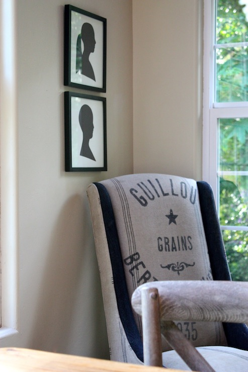 My Sweet Savannah - dining rooms - gray, walls, stacked, framed, silhouette, prints, wingback, chair, vintage, French, grain, sack, fabric, burlap chairs, burlap dining chairs, grain sack chairs, grain sack dining chairs, french grain sack chairs, french grain sack dining chairs,