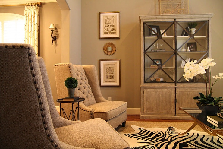 Gray glass front cabinet transitional living room - Gold wall color living room ...