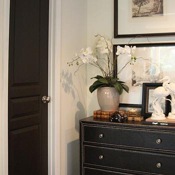 M. E. Beck Design - entrances/foyers - Benjamin Moore - Night Horizon - black, door, black, leather, chest, silver, nailhead trim, black walls, black paint, black paint color,