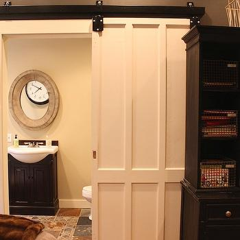 Sliding Barn Bathroom Door, Contemporary, boy's room, Annie Sloan Old White, My Sweet Savannah