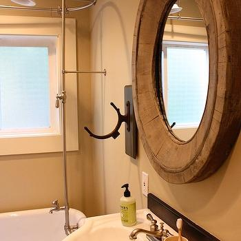 My Sweet Savannah - bathrooms - gray, walls, claw foot, tub, bathroom mirror, restoration hardware mirrors, restoration hardware bathroom mirrors, Restoration Hardware Pieced Oval Mirror,