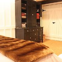 My Sweet Savannah - boy's rooms - gray, walls, black, cabinet, sliding, barn door, Annie Sloan Old White, World Market Chocolate Faux Fur Throw,