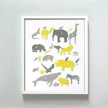 Art/Wall Decor - 11x14 Alphabet Animals Print in Grays and Yellow by GusAndLula - alphabets, animal, print, yellow, gray