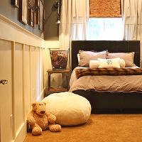 My Sweet Savannah - boy's rooms - gray, walls, board and batten, Home Depot, drop-cloth, drapes, layered, bamboo, roman shades, chocolate, brown, leather, bed, World Market Chocolate Faux Fur Throw, Annie Sloan Old White, World Market Aiden End Table, Restoration Hardware 1900s Machinist Sconce, Restoration Hardware Grand Luxe Faux Fur Bean Bag Chair - Arctic Fox,