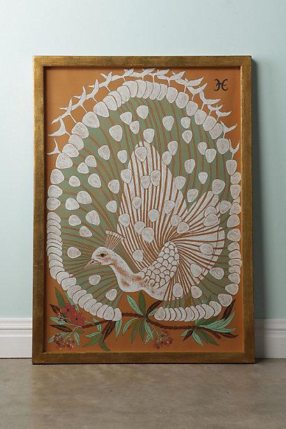 Art/Wall Decor - Peacock By Shelley Hesse - Anthropologie.com - peacock, shelley, hesse