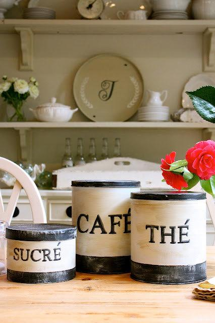 Decor/Accessories - Set of 3 French inspired vintage look kitchen by mysweetsavannah - French, style, vintage canisters