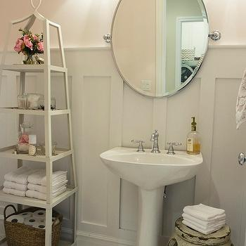 Alice Lane Home - bathrooms - white, etagere, vintage, penny, tiles, floor, glossy, white, pedestal, sink, rustic, garden stool, pale gray, board and batten, walls, oval, pivot, mirror, board and batten, board and batten powder room, powder room board and batten,