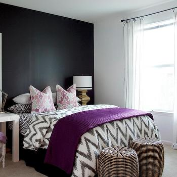 Dayka Robinson Designs - bedrooms - Benjamin Moore - Onyx - black, accent wall, purple, throw, charcoal, gray, imperial trellis, sheets, pillow, covers, white, chair, white, framed, bulletin board, geometric bedding, geometric duvet, zigzag duvet, zigzag bedding, chevron bedding, chevron duvet, black walls, black paint, black paint color,