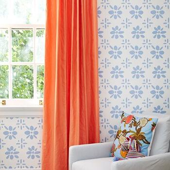 Amie Corley Interiors - girl's rooms - coral, silk, drapes, off-white, slipcover, chair, orange, band, turquoise, blue, pillow, orange curtains, orange drapes, orange window panels, orange silk curtains, orange silk drapes, orange silk window panels,