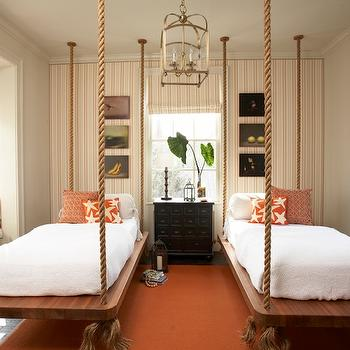 Roughan Interior Design - girl's rooms - striped, wallpaper, accent wall, black, apothecary chest, hanging, rope, twin, beds, orange, rug, pillows, rope bed, hanging rope bed, roep hanging bed, twin rope bed, twin hanging rop bed, , Sandy Chapman Medium Arch Top Lantern,