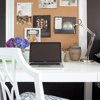 Dayka Robinson Designs - bedrooms - black, accent wall, white, chair, white, framed, bulletin board, parsons desk, white parsons desk, west elm desk, white desk, white lacquer desk, West Elm Parsons Desk, Windsor Smith Home Pelagos - Haze,