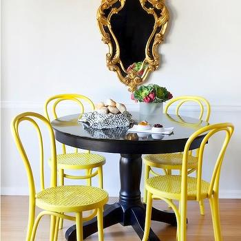 Dayka Robinson Designs - dining rooms - canary, yellow, black, pedestal, table, gold, rococo, mirror, canary, yellow, bentwood, chairs, rococo mirror, gold rococo mirror,