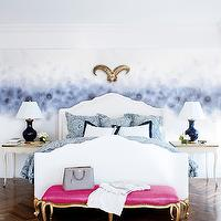 Spazio Rosso - bedrooms - cobalt, blue, lamps, white, Hollywood Regency, bed, gold, French, bench, fuchsia, cushion, French, end tables, hot pink bench, french bench, pink french bench, hot pink french bench, pink and gold bench, pink and gold french bench,
