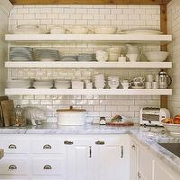 House Beautiful - kitchens - white, floating shelves, subway tiles, backsplash, white, kitchen cabinets, marble, tops, white, kitchen island, butcher block, top, subway tile backsplash, white subway tile, subway tile kitchen, white subway tile backsplash, white subway tile kitchen, subway tiles backsplash,