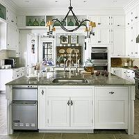 Jackie Lanham - kitchens - floor to ceiling, white, kitchen cabinets, sink in kitchen island, granite, tops, stacked, stainless steel, dishwashers, double ovens, Wolf Range, iron, chandelier, kitchen island dishwasher, island dishwasher, stacked dishwashers, kitchen island stacked dishwashers, custom chandelier,