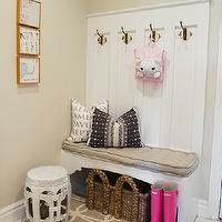 Alice Lane Home - laundry/mud rooms - sand, walls, white, built-in, bench, burlap, button, tufted, cushion, white, garden stool, mudroom, mudroom design, mudroom bench, mudroom hooks, mudroom panels, mudroom paneling, mudroom baskets, mudroom storage baskets,