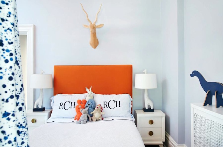 Amie Corley Interiors - boy's rooms - Jonathan Adler Giraffe Lamp, blue, walls, orange, headboard, white, nightstands, monogrammed, duvet, shams, orange and blue boys room, orange and blue boys bedroom,