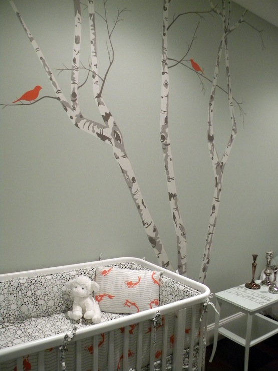 Tree Wall Stencil Contemporary Nursery Color Theory