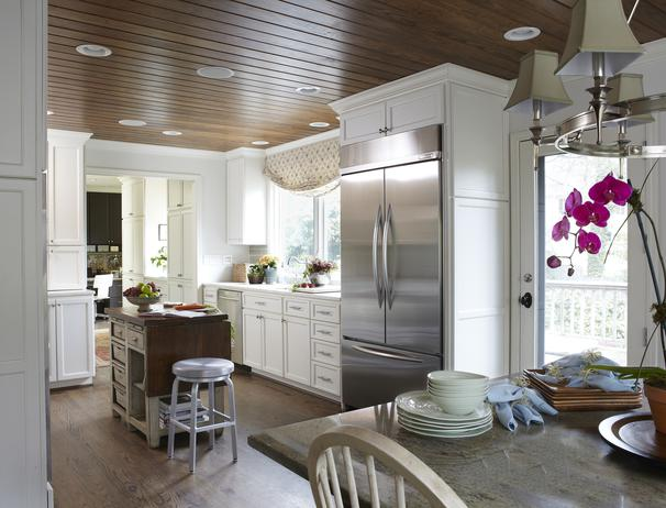 HGTV - kitchens - Crate & Barrel Spin Stool, wood paneled, ceiling, white, floor to ceiling, shaker, kitchen cabinets, marble, tops, gray, kitchen island, butcher block, top, wood paneled ceiling, plank ceiling, paneled cielig,