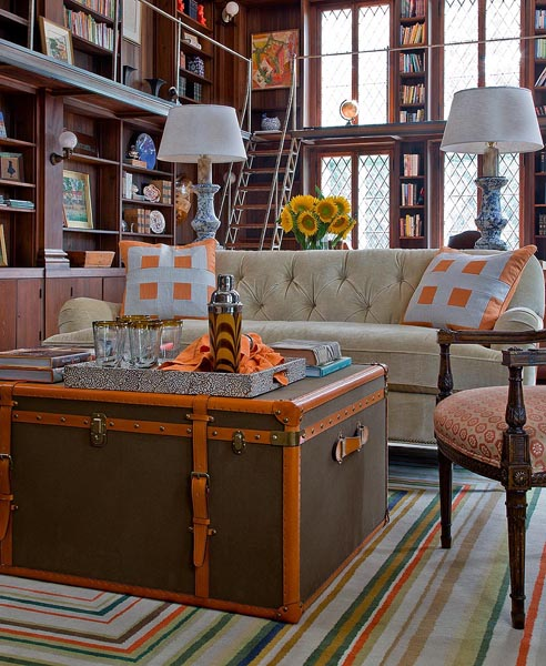Den Library Office: Orange And Brown Room